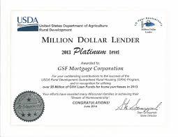 gsf mortgage named platinum million dollar lender for third year