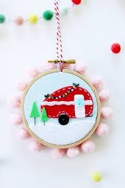 mini felt cer hoop ornament