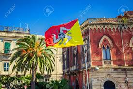 Sicillian Flag Sicilian Flag In Front Of The Syracuse Architecture Sicily