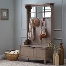 hall tree with storage bench mirror coat rack gray for entryway