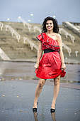 stock photography of woman in nice soaking wet dress k16005890