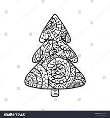 christmas tree christmas card zentangle style stock vector