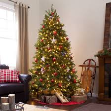7 5 ft dual colored pre lit dunhill fir hinged tree