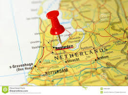 netherland map europe amsterdam netherlands pinned on a map of europe stock photo at