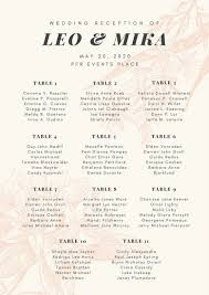 wedding reception seating chart pink floral illustration wedding reception seating chart