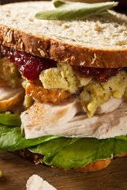 leftover thanksgiving dinner turkey sandwich stock image