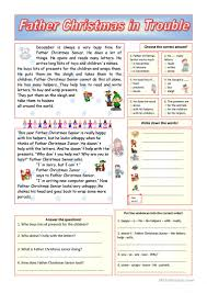 father christmas in trouble key included worksheet free esl