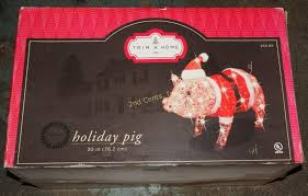 trim a home 30 light up santa pig decor