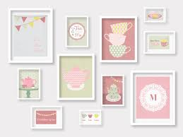 tea time gallery wall tea cup nursery prints nursery decor