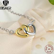 sterling gold necklace images Small necklace 925 sterling silver united in love silver gold jpg