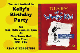 personalised halloween party invitations diary of a wimpy kid personalised party invitations the card zoo