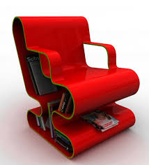 Home Library Furniture by Red Modern Lounge Chair With Bookshelf Storage For Small Home