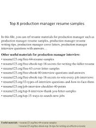 Qa Manager Resume Summary Top8productionmanagerresumesamples 150426010049 Conversion Gate02 Thumbnail 4 Jpg Cb U003d1430028094