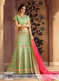 stunning pista green art silk embroidered lehenga with net dupatta