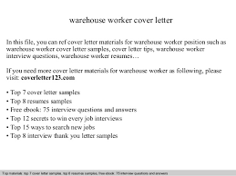 Resume Sample Warehouse Worker by Warehouse Worker Cover Letter