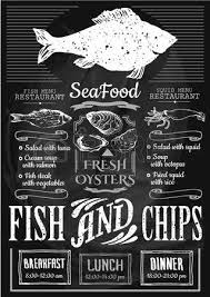 menu for fish restaurant or bar with a picture of the fish on