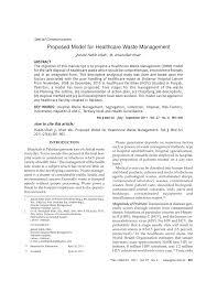 proposed model for healthcare waste management pdf download
