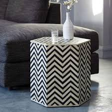 black and white side table and white chevron bone inlaid faceted side table