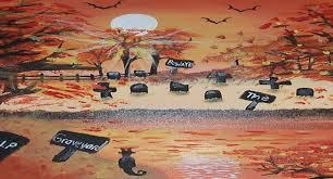 halloween mobile wallpaper river beware graveyard autumn art paintings halloween bigger full
