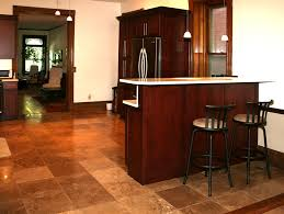 Dark Mahogany Kitchen Cabinets by Cute Brown Color Natural Stone Tile Kitchen Floor Features White