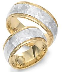 two tone wedding bands 8mm comfort fit two tone gold wedding band with brushed hammered