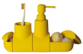 accessoire bureau rigolo set d u0027accessoires submarine pour salle de bains jaune seletti