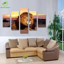 Lion Decor Home by 5 Panel Modern Printed Lion Oil Painting Picture Cuadros Animal