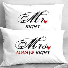 mr right mrs always right pillowcases first anniversary gift idea