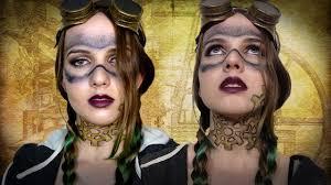 gold halloween makeup steampunk halloween cosplay makeup tutorial youtube