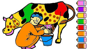 cute cow coloring page for kids drawing cow learn colors youtube