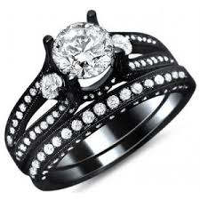 black wedding sets 2 33ct diamond engagement ring bridal set 14k black go