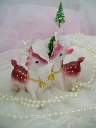Vintage Christmas Cake Decorations Reindeer by Vintage Pink Reindeer Deer Rubber Plastic Japan Figure Swivel Head