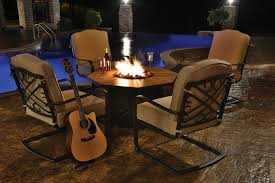 Patio Furniture Sets With Fire Pit by 5 Piece Harmony Cast Aluminum Patio Chair And Gas Fire Pit Outdoor