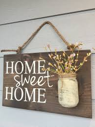21 fabulous etsy fall decorations that are impossible to resist home sweet home rustic sign with mason jar vase