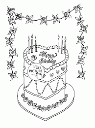 beautiful birthday cake coloring page for kids holiday coloring