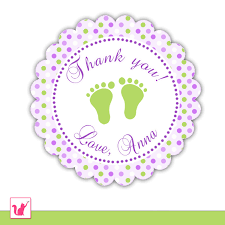 printable personalized cute purple green baby feet thank you
