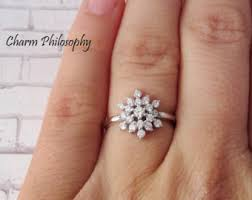 snowflake engagement ring snowflake rings etsy