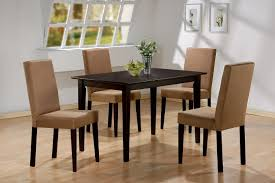 dining room furniture beige fabric parson chairs decor with teak