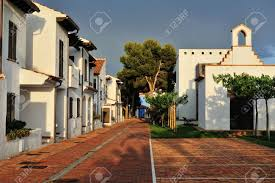the court yard of the spanish houses in alcossebre spain stock