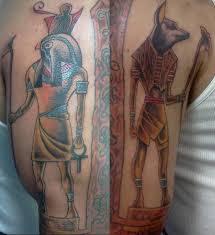 anubis and horrus tattoos on half sleeve tattooshunt com