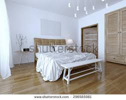 White And Brown Bedroom Neoclassical Bedroom Frame Molding On Walls Stock Illustration
