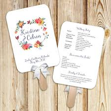 printable wedding program fans printable wedding program fan digital file diy watercolor