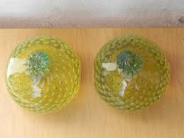 murano art glass yellow fruit bubble glass bookends i like mikes