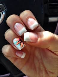 french tip gel nails with flower art design nails pinterest