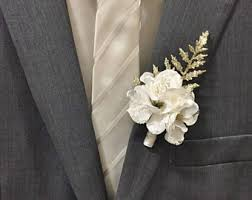 boutineer flowers white boutonniere etsy