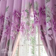 Country Style Window Curtains Purple Color Flowers Country Style Bathroom Window Curtains