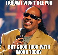 Good Luck Memes - i know i won t see you but good luck with work today meme stevie