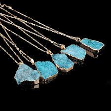 blue crystal stone necklace images New hot sale irregular natural stone quartz crystal necklace slice jpg