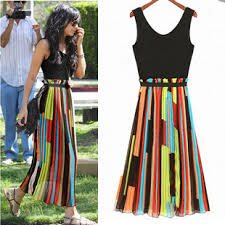 colorful dress style colorful stripes chiffon splice dress