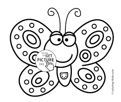 smiling butterfly coloring pages for kids printable free